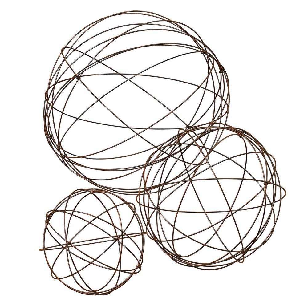 Heavy Wire Garden Spheres (Set of 3)