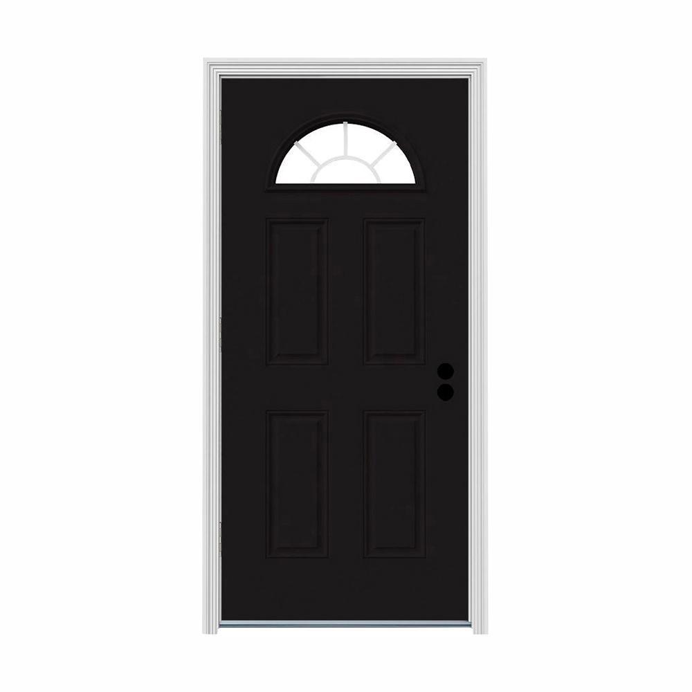 30 in. x 80 in. Fan Lite Black w/ White Interior Steel Prehung Right-Hand Outswing Front Door w/Brickmould
