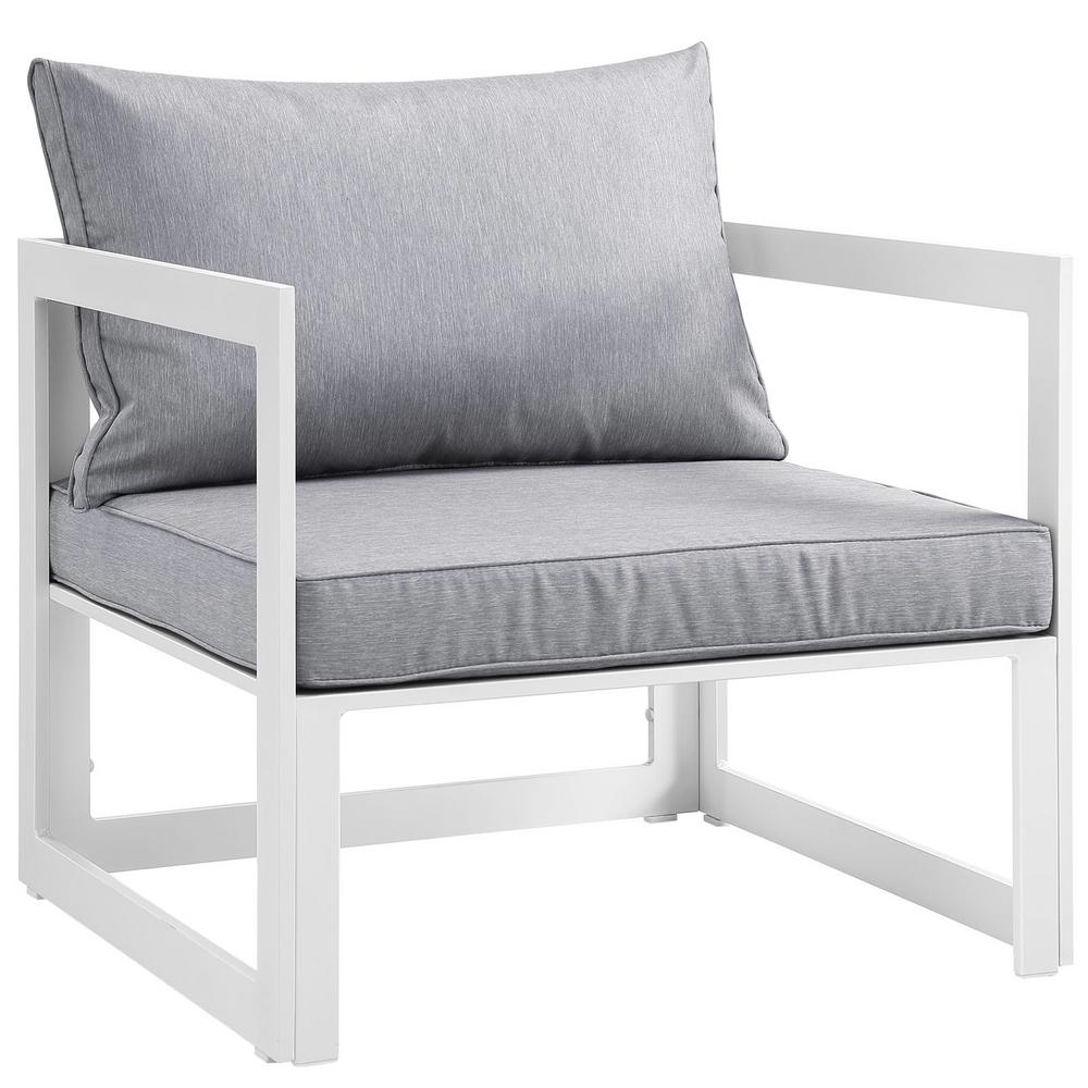 MODWAY Fortuna Aluminum Outdoor Patio Lounge Chair in Whi...