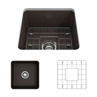 Sotto Undermount Fireclay 18 in. Single Bowl Kitchen Sink with Bottom Grid and Strainer in Matte Brown