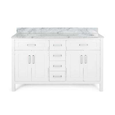 Greysen 60 in. W x 22 in. D Bath Vanity with Carrara Marble Vanity Top in White with White Basin