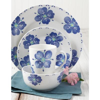 Classic Riviera 16-Piece Blue and White Decorated Dinnerware Set