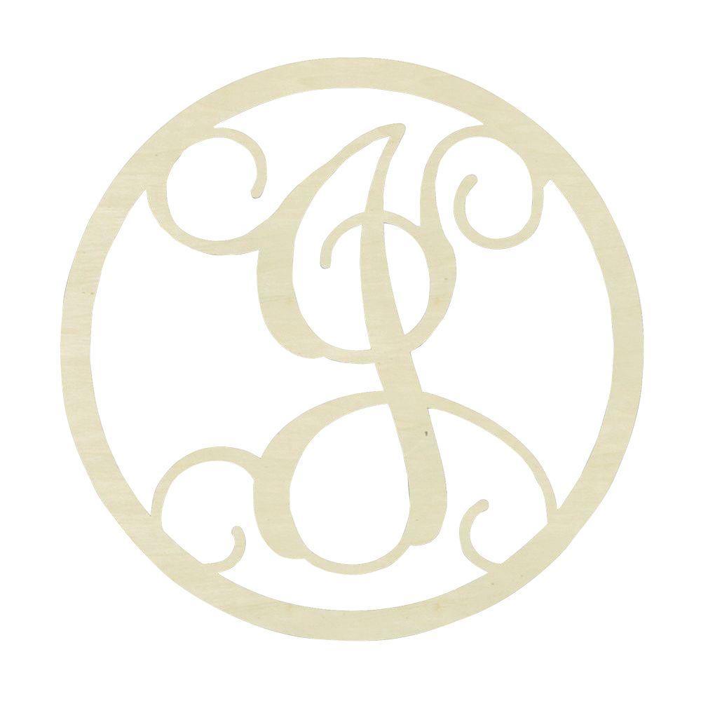 jeff mcwilliams designs 19 in  unfinished single circle monogram  j -300463