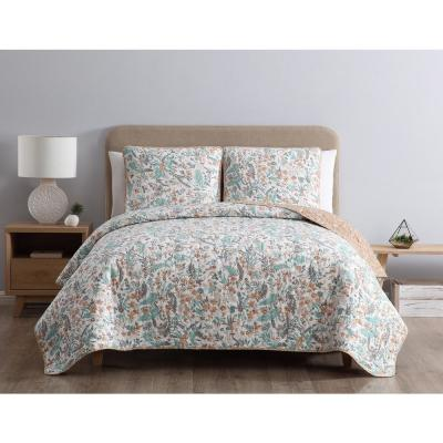 MHF Home Gertrude Reversible Blue Floral Twin Quilt Set,