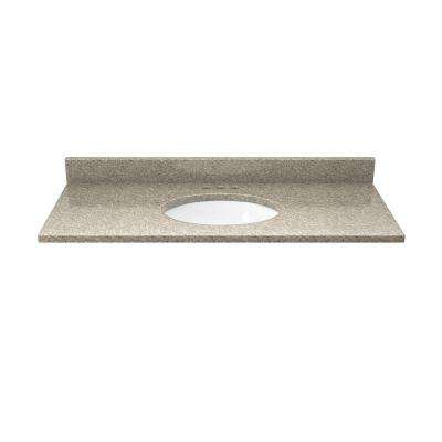 37 in. Quartz Vanity Top in Sand Staccato with White Basin