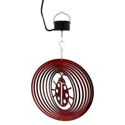 Ladybug 12 in. Whirligig Wind Spinner with Electric-Operated Motor