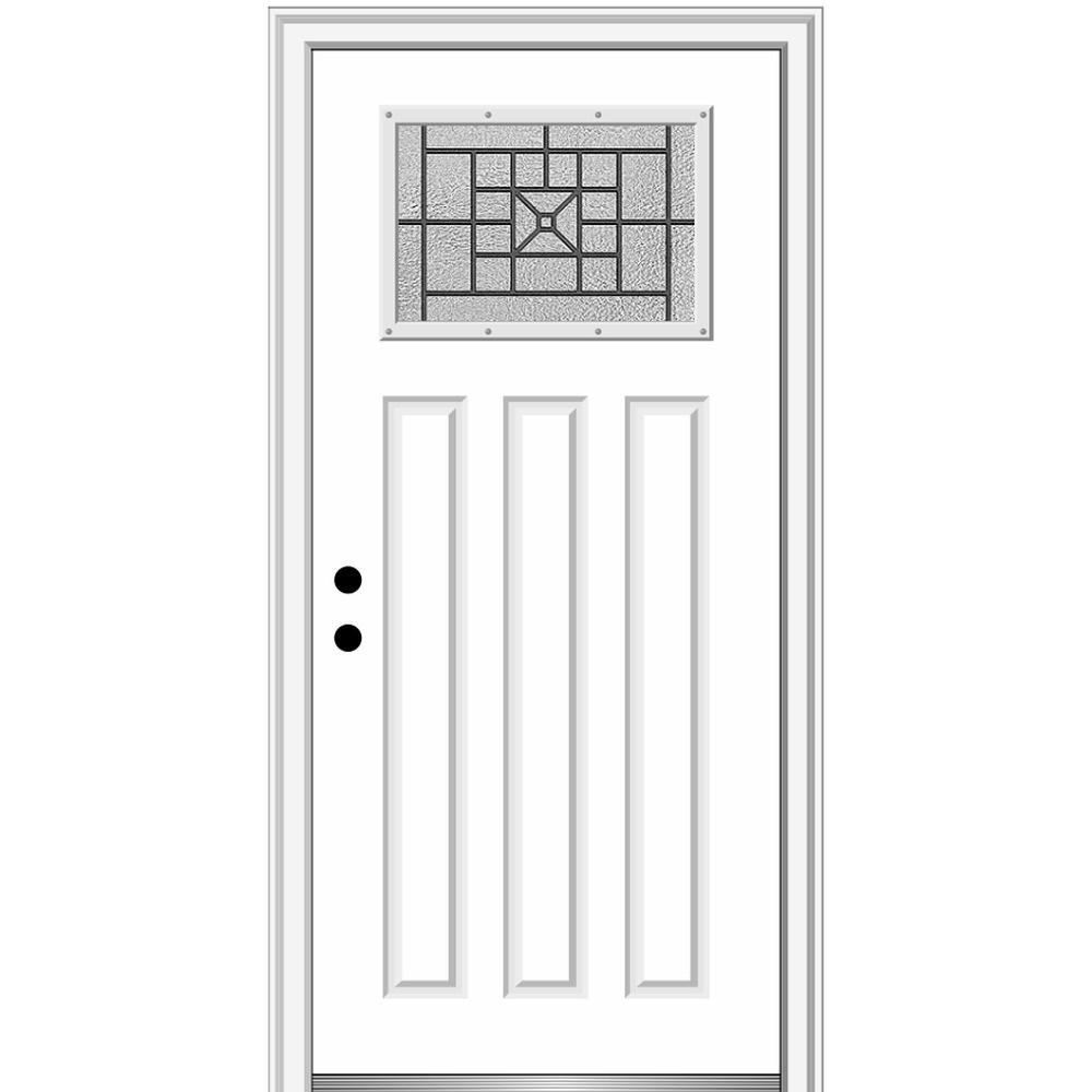 36 in. x 80 in. Courtyard Right-Hand 1-Lite Decorative Craftsman Primed Fiberglass Prehung Front Door, 4-9/16 in. Frame