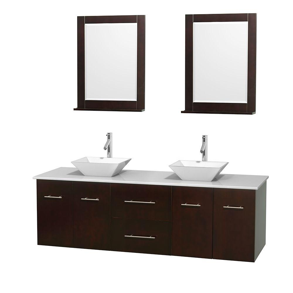 Wyndham Collection Centra 72 in. Double Vanity in Espresso with Solid-Surface Vanity Top in White, Porcelain Sinks and 24 in. Mirror