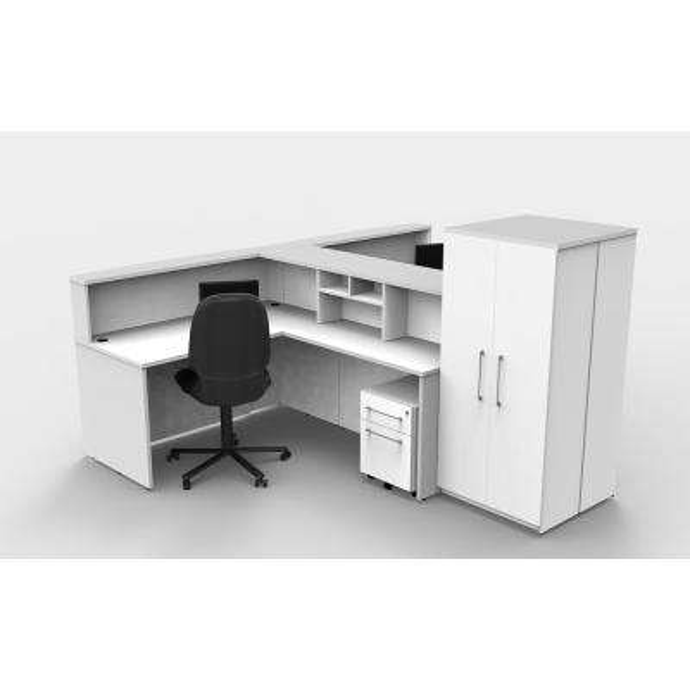 12-Piece White Office Reception Desk Collaboration Center