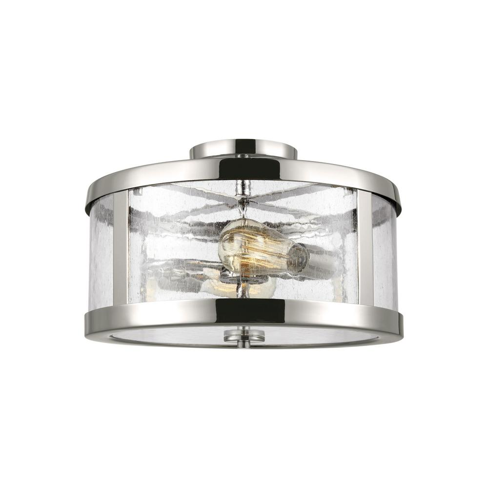Harrow 2-Light Polished Nickel Semi-Flushmount
