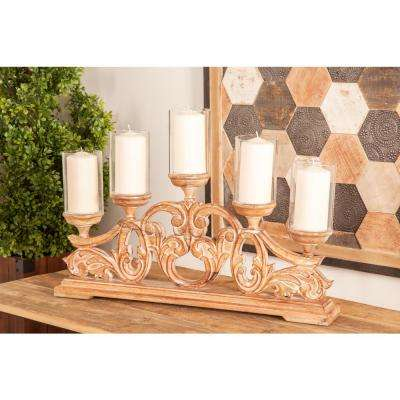 Brown Carved Flourish Design 5-Light Mango Wood Candle Holder