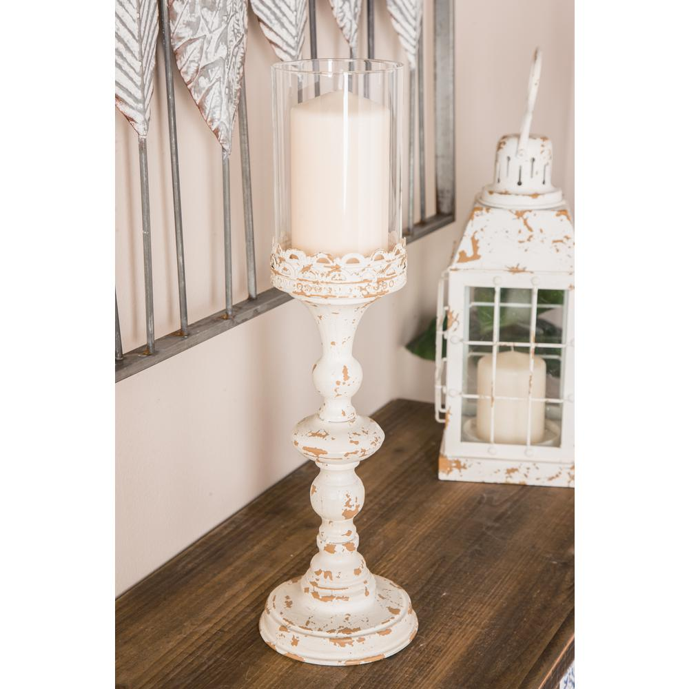 Shabby Elegance Scrollwork Candleholder Ivory