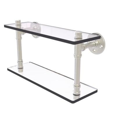 Allied Brass Pipeline Collection 16 In Double Glass Shelf In Satin Nickel P 420 16 Dgs Sn The Home Depot
