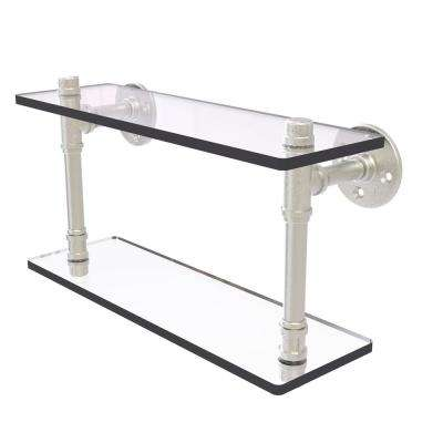 Pipeline Collection 16 in. Double Glass Shelf in Satin Nickel