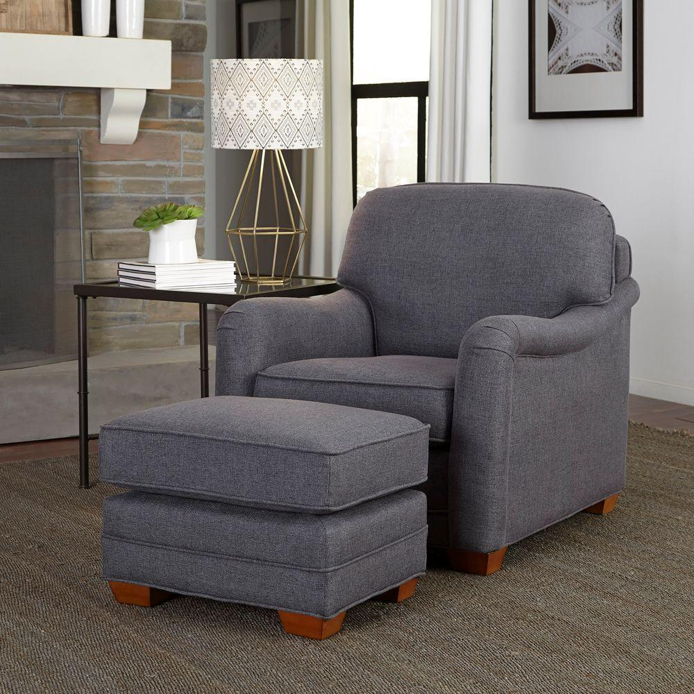 Perfect Home Styles Magean Grey Polyester Arm Chair With Ottoman