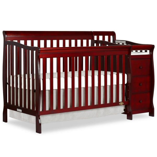 Dream On Me Brody Cherry 5-in-1 Convertible Crib with Changer 620-C