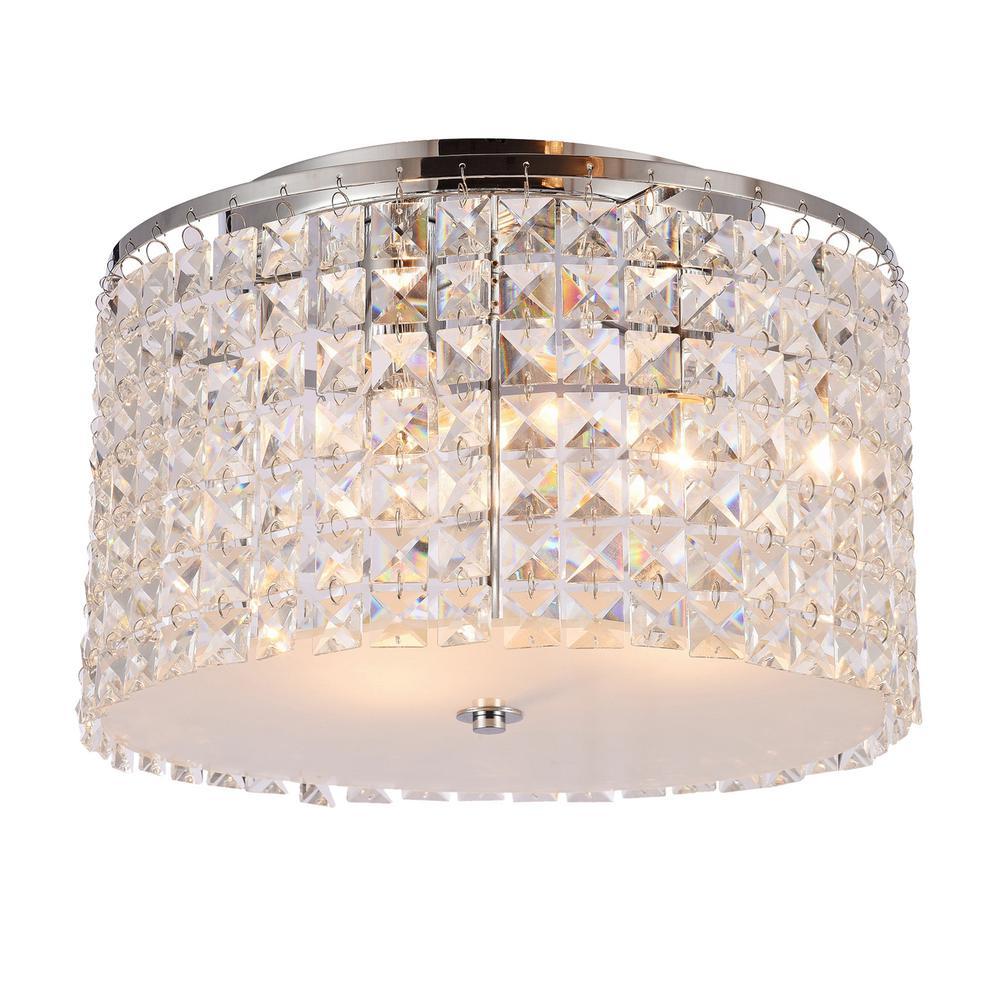 Olympia 3-Light Chrome Flushmount Light with Crystal Shade