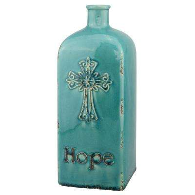 12 in. Ceramic Hope Vase in Worn Turquoise