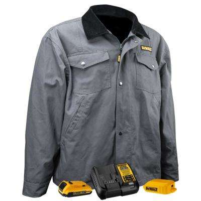 Unisex Small Charcoal Duck Fabric Heated Barn Coat with 20-Volt/2.0 Amp Battery and Charger