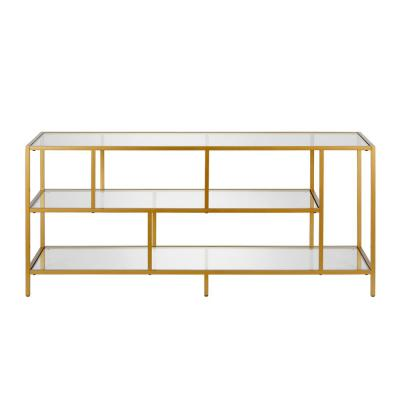 Winthrop Brass with Glass Shelves TV Stand