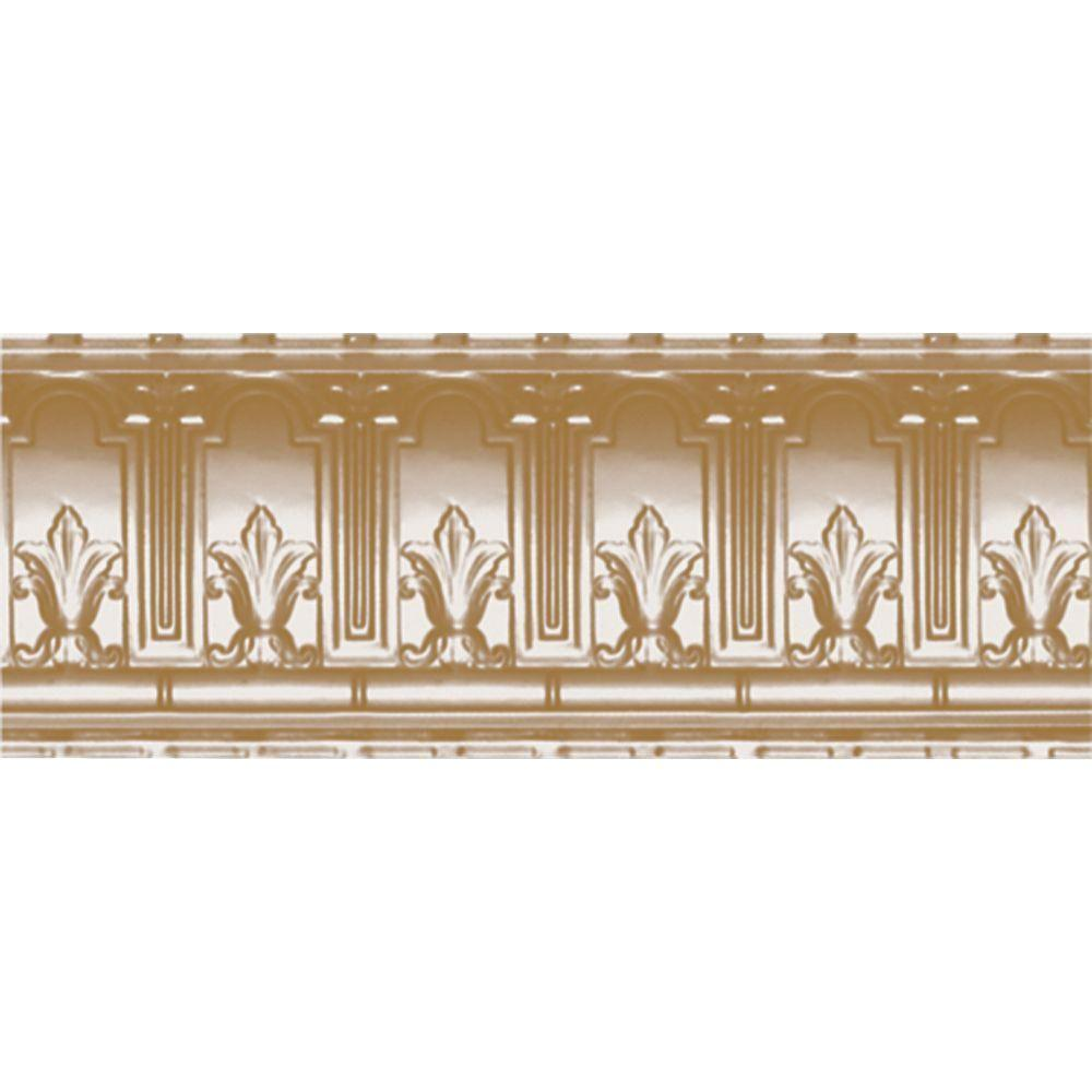 Shanko 9-1/2 in. x 4 ft. x 9-1/2 in. Satin Brass Nail-up/Direct Application Tin Ceiling Cornice (6-Pack)