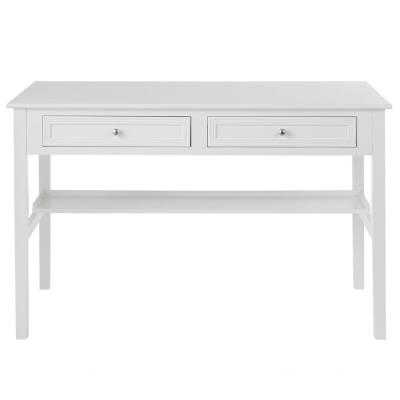 48 in. Rectangular White 2 Drawer Writing Desk with Built-In Storage