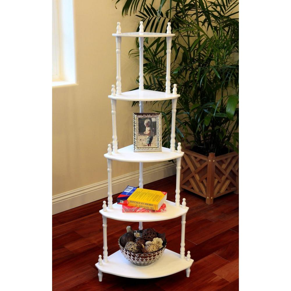 5-Tier Corner Decorative Shelving Rack in White