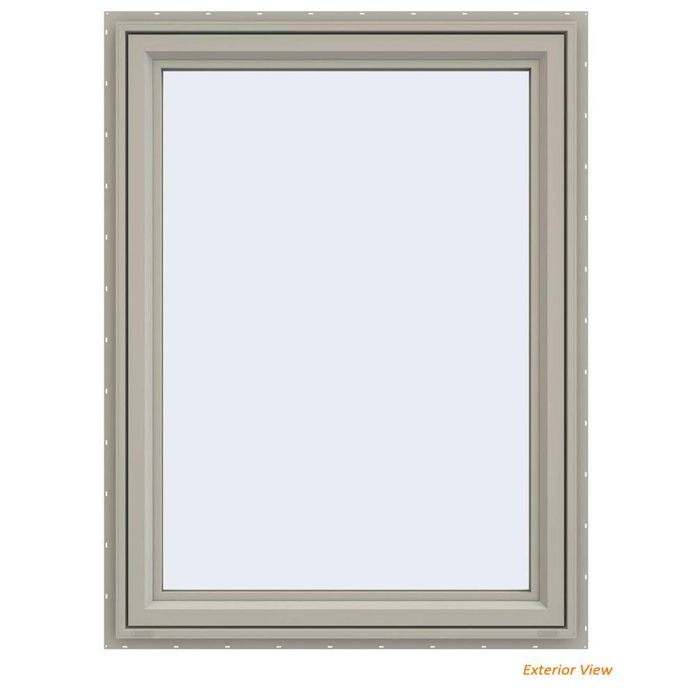 35.5 in. x 47.5 in. V-4500 Series Desert Sand Vinyl Left-Handed Casement Window with Fiberglass Mesh Screen
