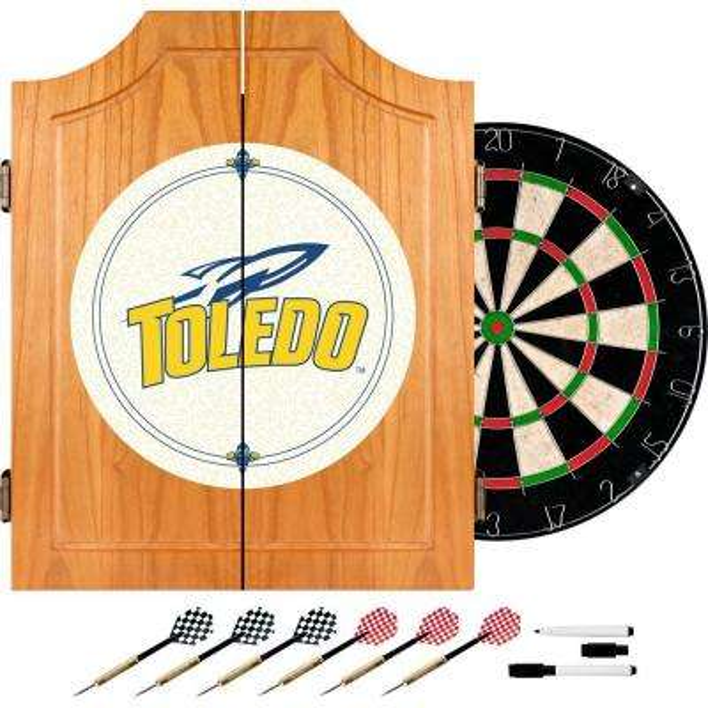 University of Toledo Wood Finish Dart Cabinet Set