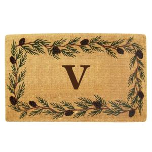 Nedia Home Evergreen 22 inch x 36 inch Heavy Duty Coir Monogrammed V Door Mat by Nedia Home