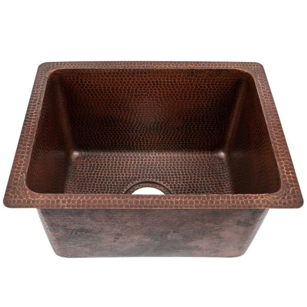 Dual Mount Rectangle Copper 17 in. Single Bowl Kitchen/Bar/Prep/Utility Sink in Oil Rubbed Bronze