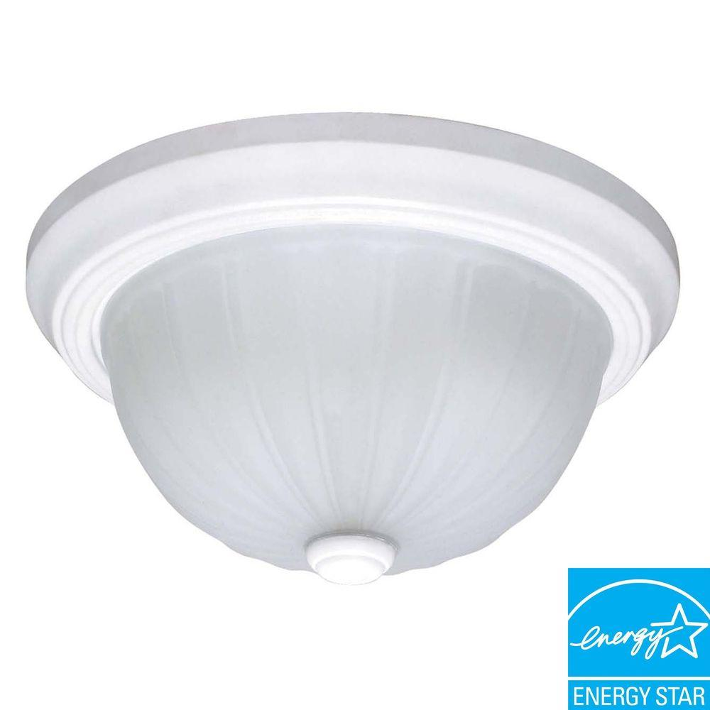 3-Light White Dome Flushmount
