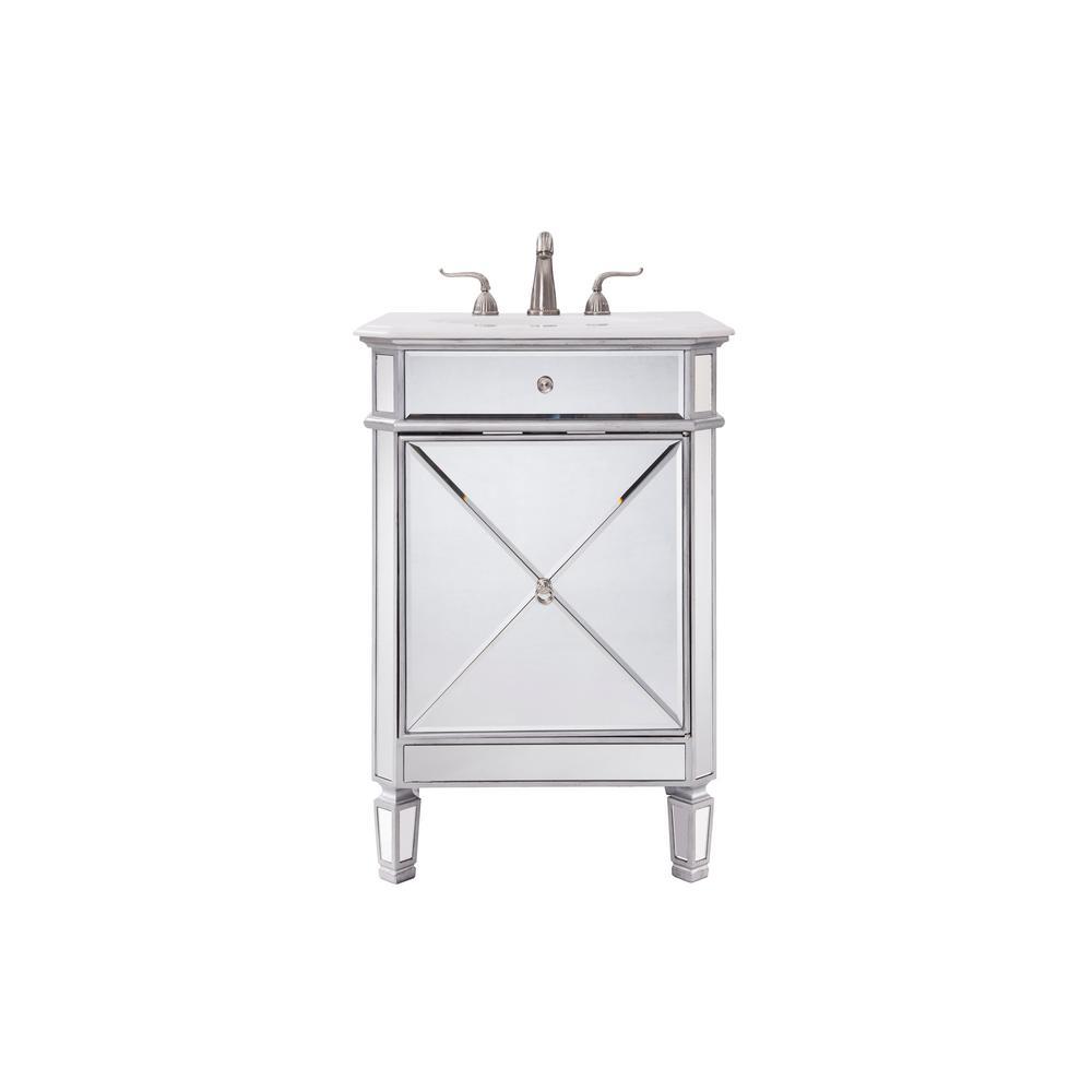 Madison 24 in. Single Bathroom Vanity with 1-Shelf 1-Door Marble Top Porcelain Sink in Clear Mirror Finish