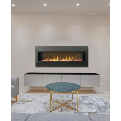 Contemporary 42 in. Wall Mount Electric Infrared Fireplace in Black or Polished Metal Surround with 3D Flame and Remote