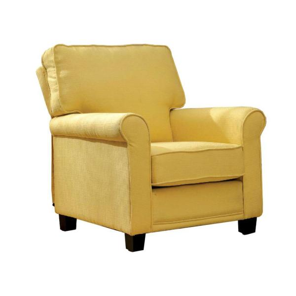 Transitional Yellow Single Chair With Flax Fabric