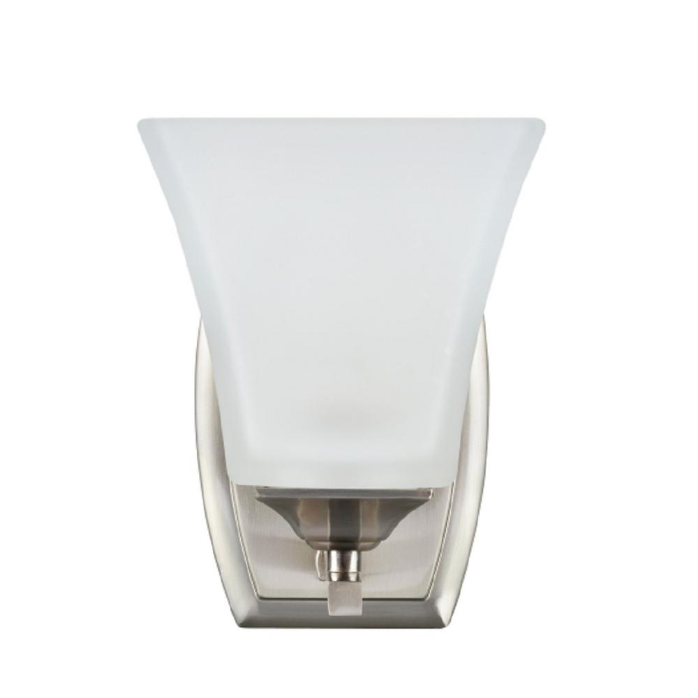 1-Light Brushed Nickel Vanity Light with Etched White Glass Shade