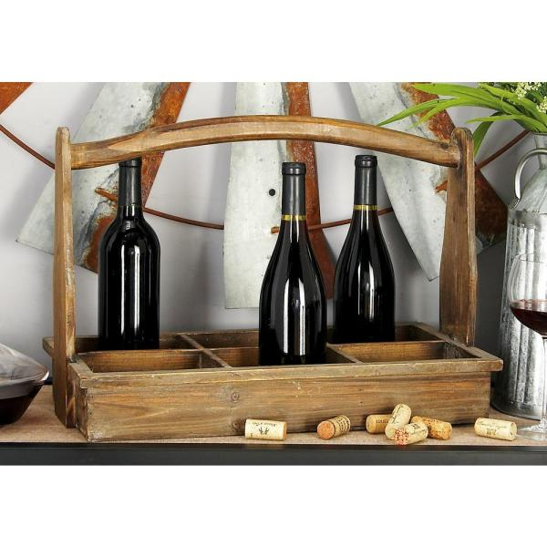 20 in. W x 14 in. H Exposed Mahogany Brown Rectangular 6-Bottle Wine Holder with Arched Handle