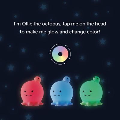 Ollie Octopus Multicolor Changing Integrated LED Rechargeable Silicone Night Light Lamp, White
