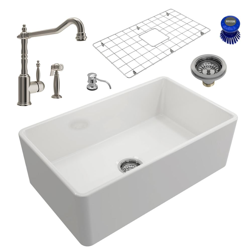 Classico All-in-One Farmhouse Fireclay 30 in. Single Bowl Kitchen Sink with