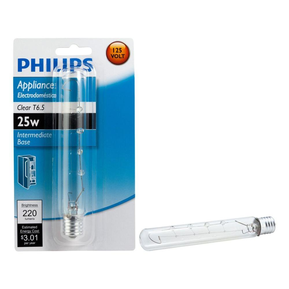Philips 25-Watt T6.5 Appliance Incandescent Light Bulb The Philips 25-Watt T6.5 Appliance Light Bulb provides a clear, crisp light. This appliance light bulb can be used in a variety of appliances, such as microwaves, ranges and sewing machines. This bulb features a T6.5 bulb shape and an intermediate base and is for indoor residential and commercial use.