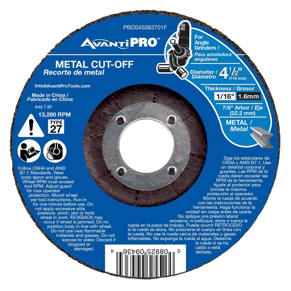 Avanti Pro 4-1/2 in. x 1/16 in. x 7/8 in. Metal Cut-Off Disc with Type 27 Depressed Center
