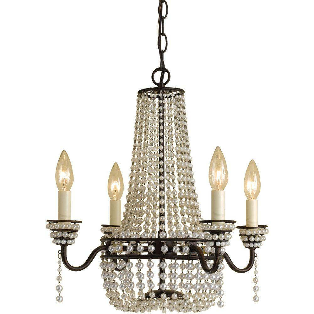 Parlor 4-Light Oil Rubbed Bronze Mini Chandelier with Cream Bead Accents