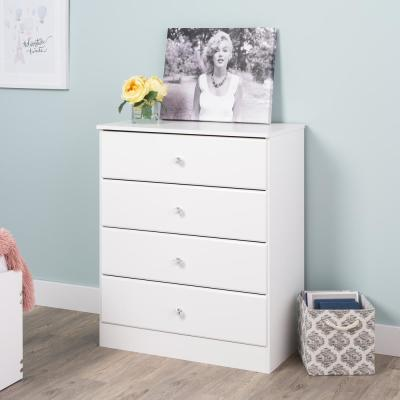 Astrid 4-Drawer Crystal White Chest of Drawers