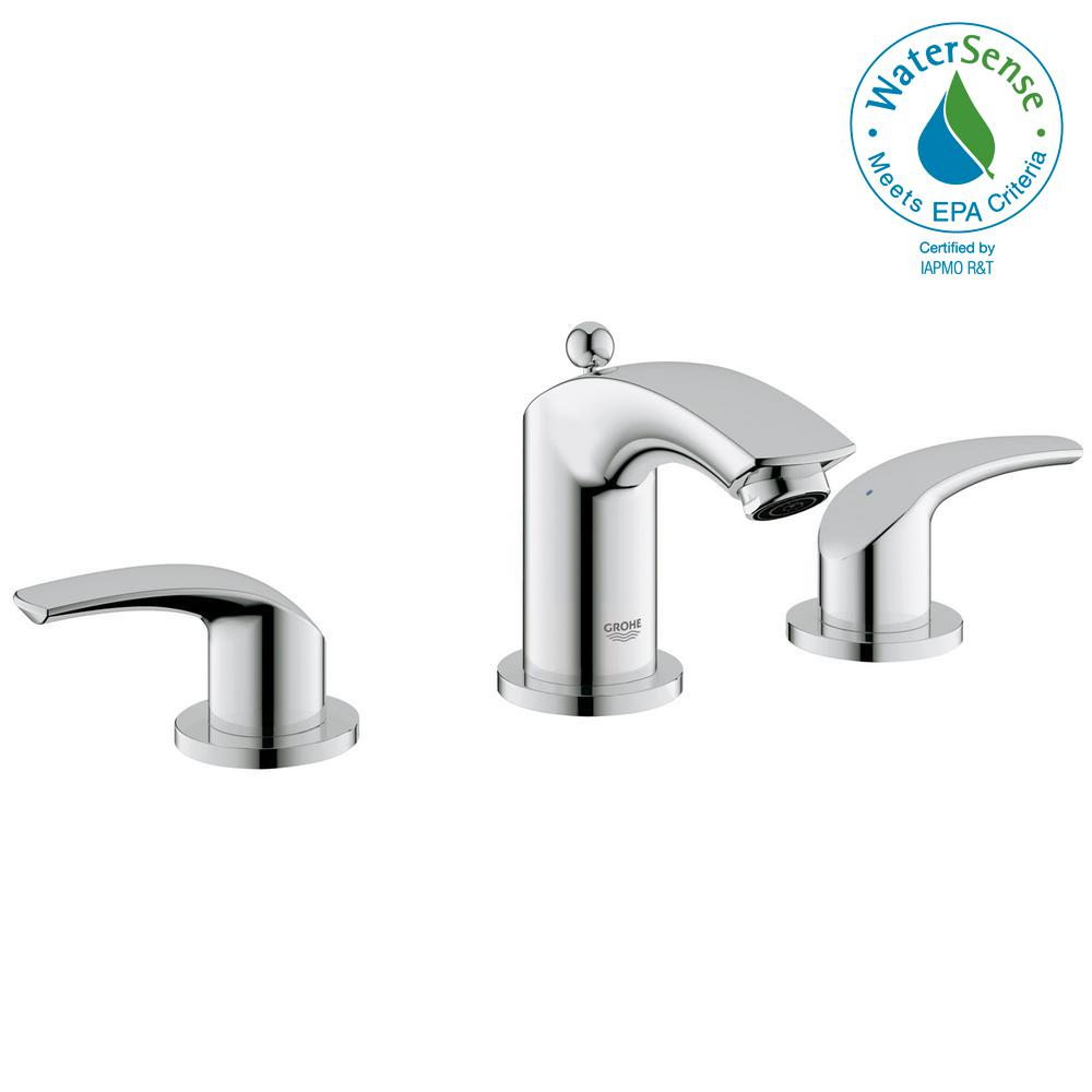 GROHE Eurosmart 8 in. Widespread 2-Handle 1.2 GPM Bathroom Faucet in StarLight Chrome