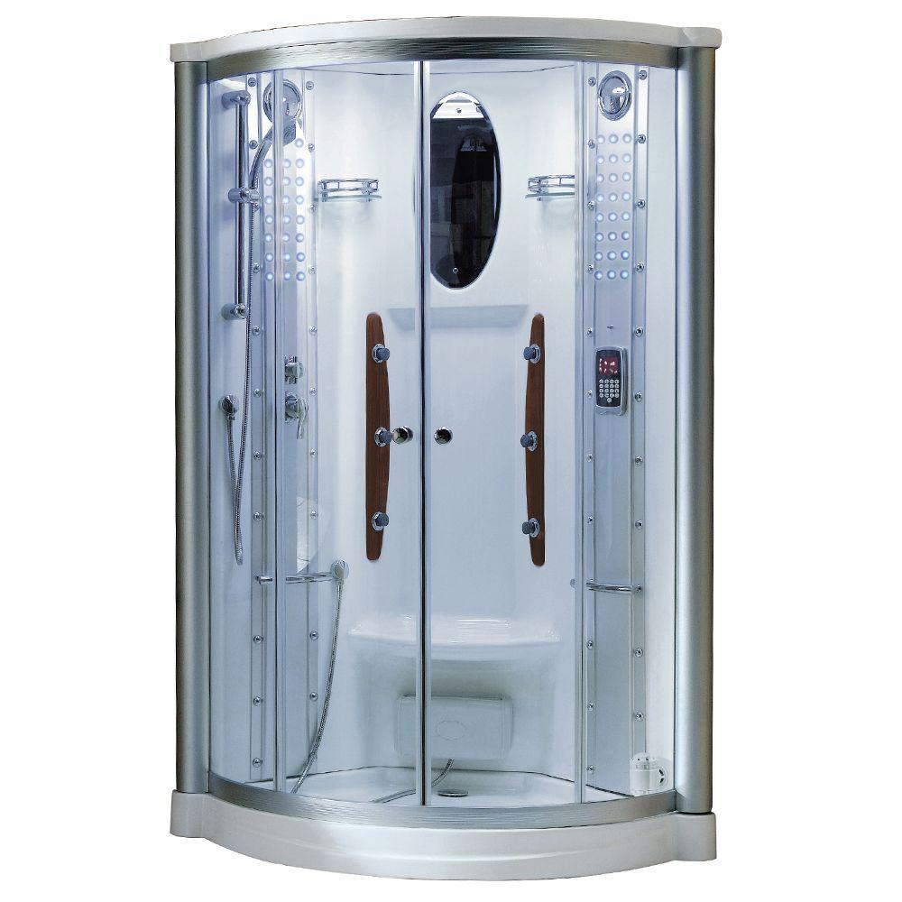 Ariel 38 inch x 38 inch x 85 inch Steam Shower Enclosure Kit in White by Ariel