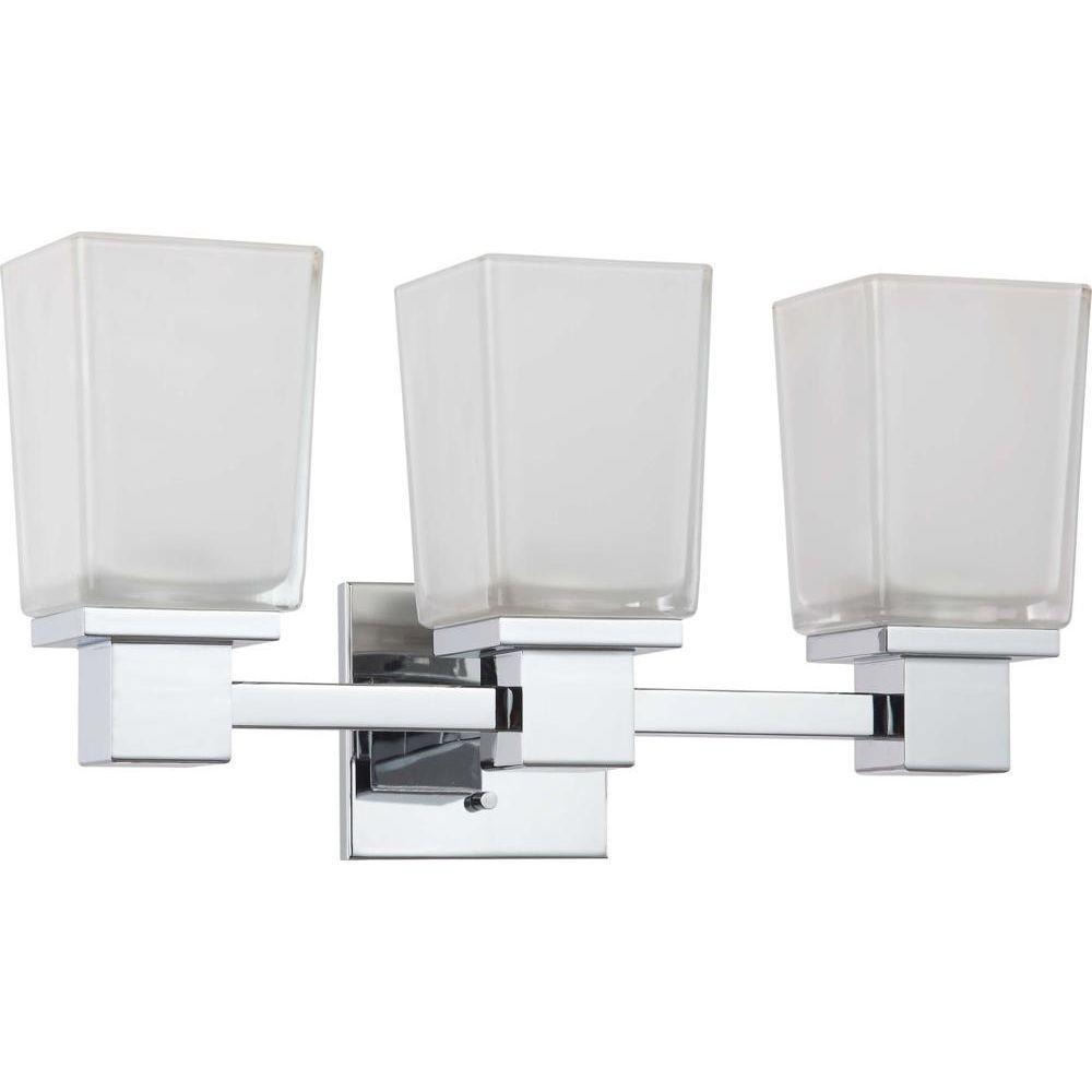 Glomar Belisana Light Polished Chrome Bath Vanity LightHD - Halogen bathroom vanity lights