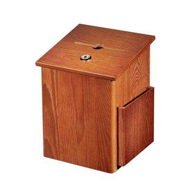 Squared Wood Locking Suggestion Box, Medium Oak