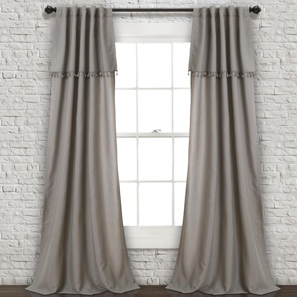 "Ivy Tassel Window Panels Gray 84"" x 40"" 2-Pc Set 90% Polyester, 10% Linen"