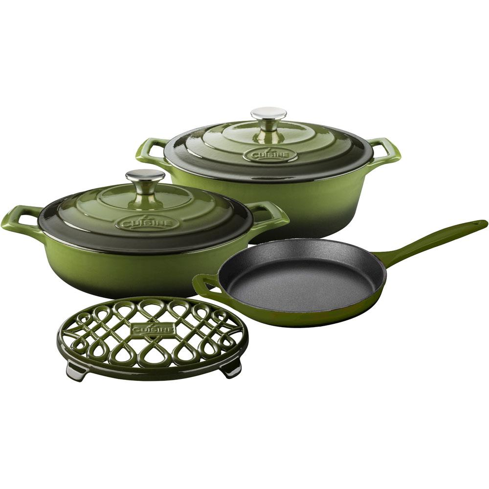 la cuisine 6 piece enameled cast iron cookware set with saute skillet and oval casserole with. Black Bedroom Furniture Sets. Home Design Ideas