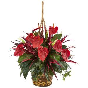 Nearly Natural Mixed Anthurium Hanging Basket Artificial Plant by Nearly Natural